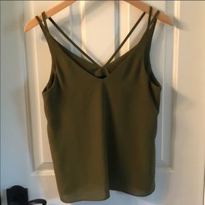 Topshop strappy olive green tank
